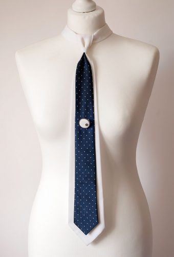 White and Navy Necktie