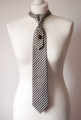 Striped Grey Necktie