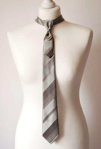 Grey Striped Necktie