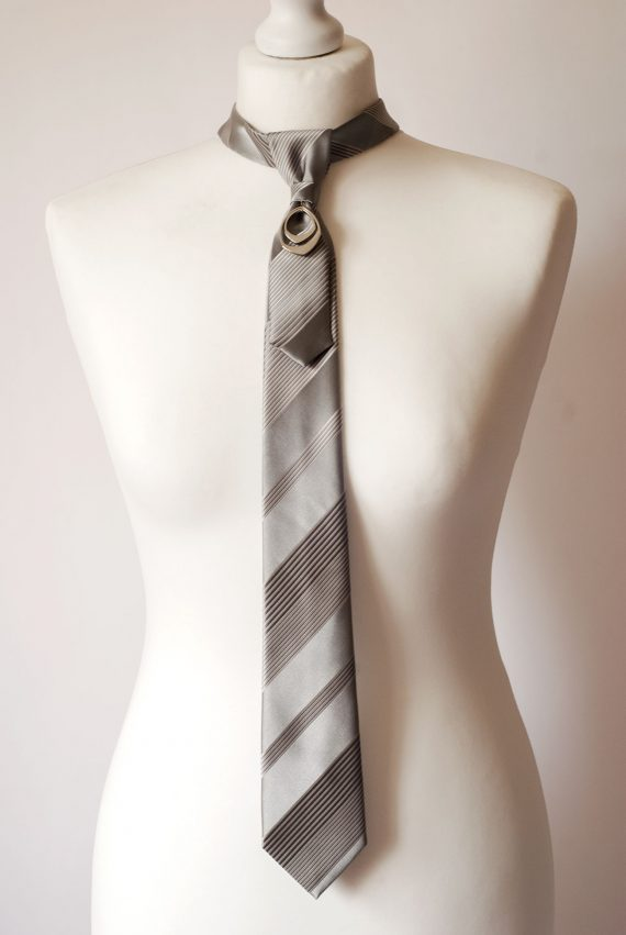 Grey Striped Necktie