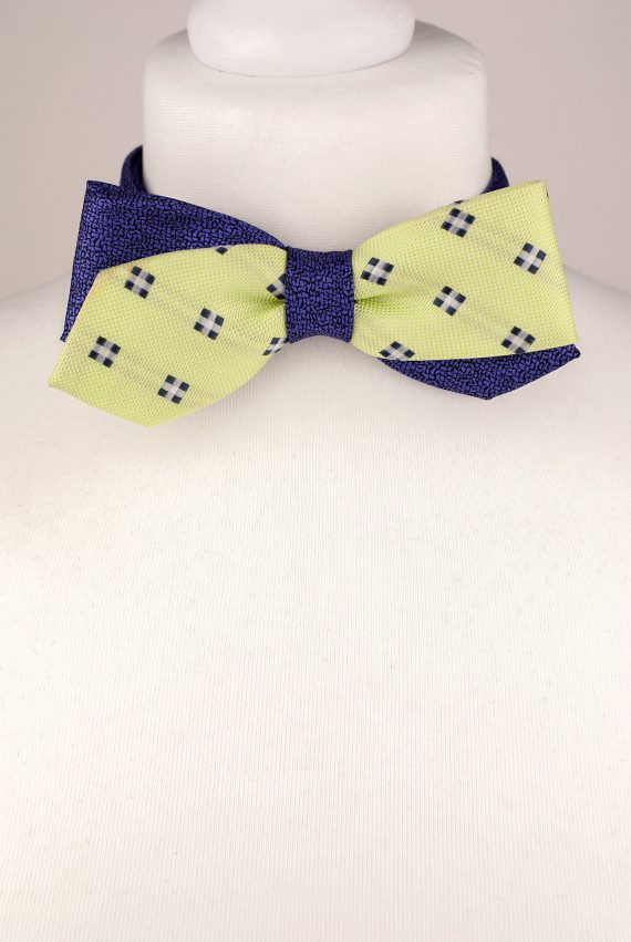 Lime Colour Diagonal Design Bow Tie