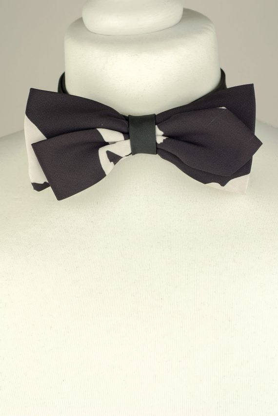 Ash Black and White Bow Tie