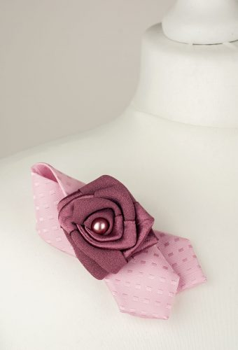 Pink Tie Brooch