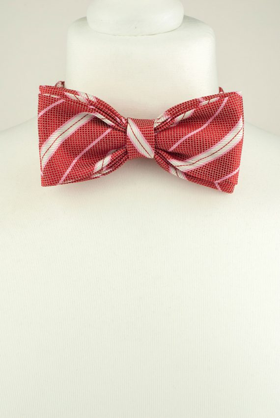 Striped Pink Bow Tie