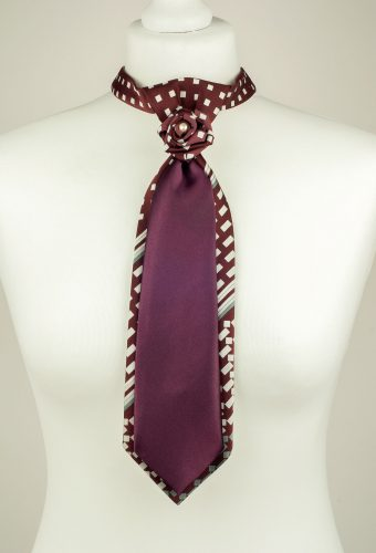 Burgundy Checked Necktie