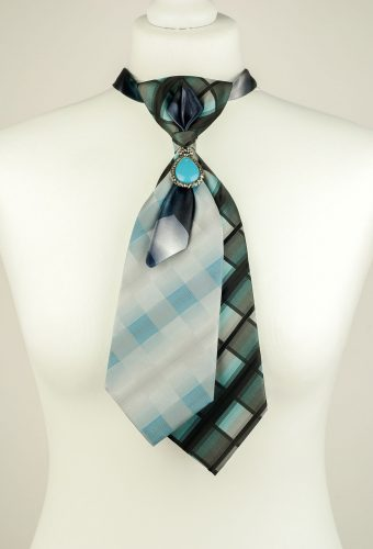 Checked Pattern Double Necktie