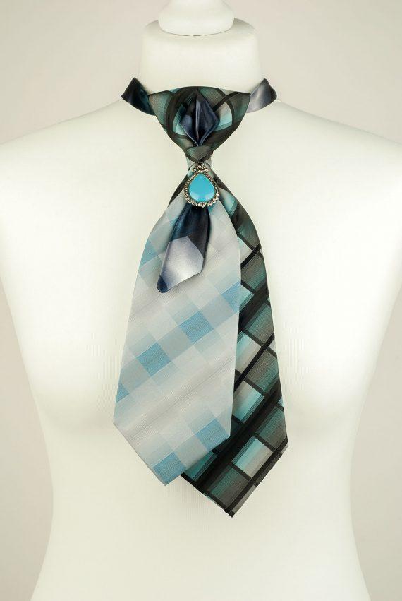 Checked Pattern Double Necktie