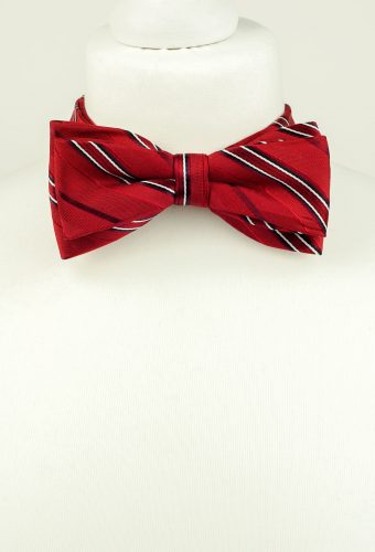 Burgundy Striped Bow Tie