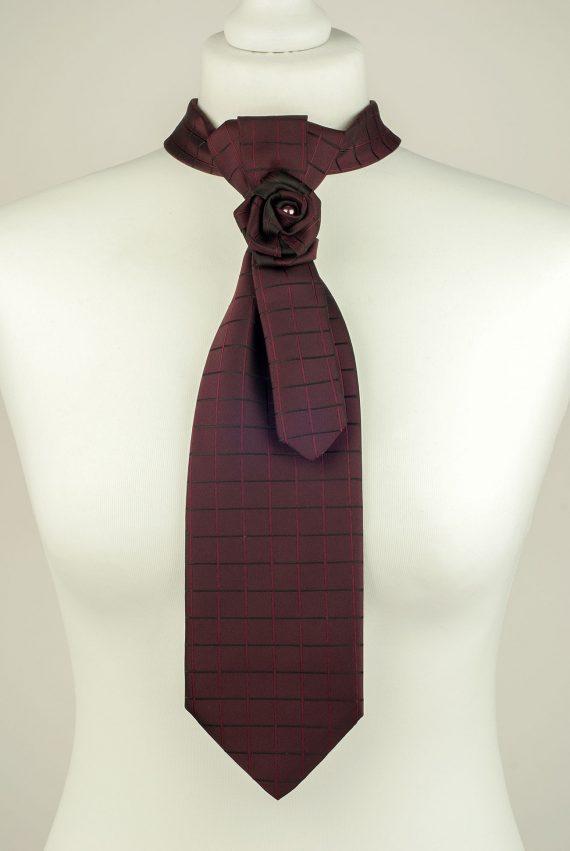 Rich Burgundy Checked Necktie