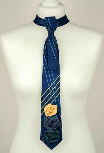 Blue Colour Three Roses Necktie