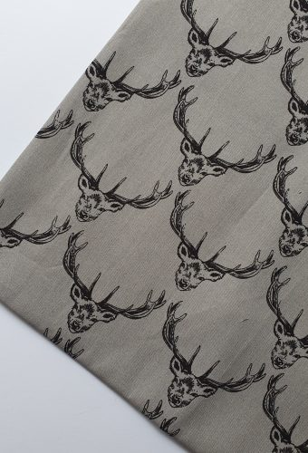 Grey Colour Deer Print