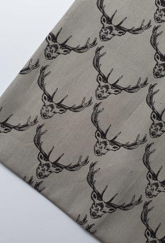 Grey Colour Deer Print