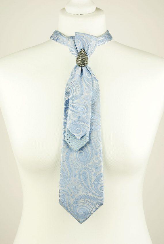 Light Blue Colour Paisley Print Necktie