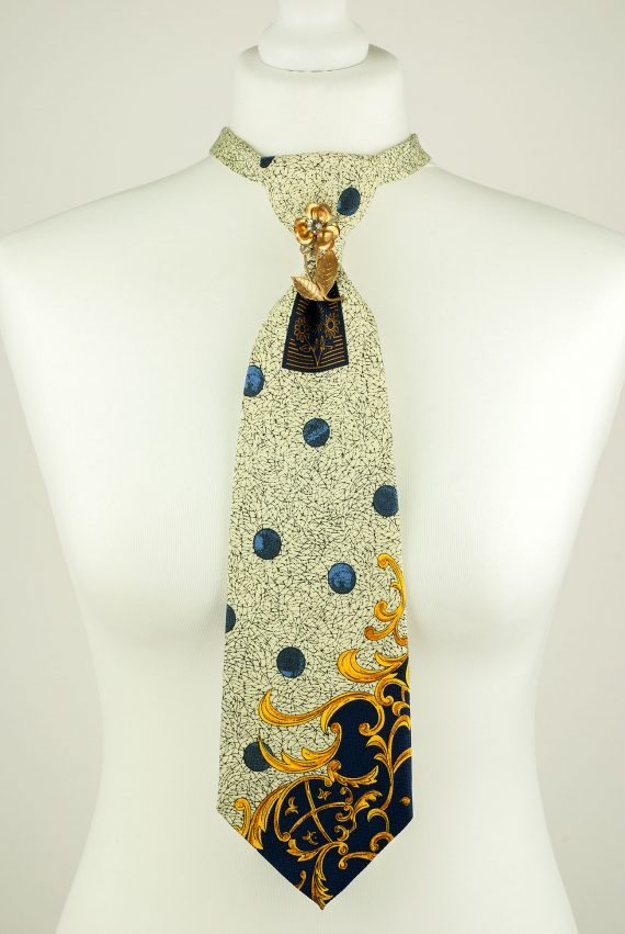 Cream Colour Abstract Print Necktie