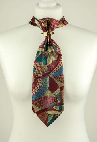 Metallic Colour Rose Brooch Necktie