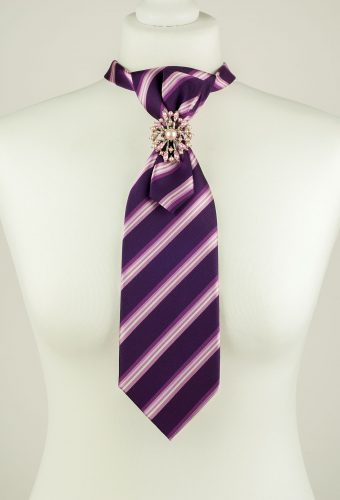 Dark Purple Colour Striped Necktie