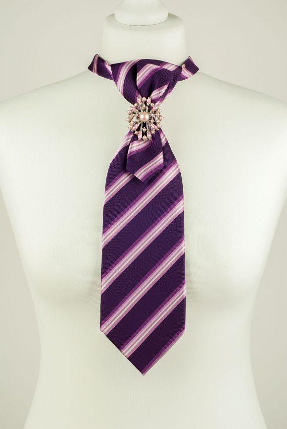 Dark Purple Colour Striped Necktie