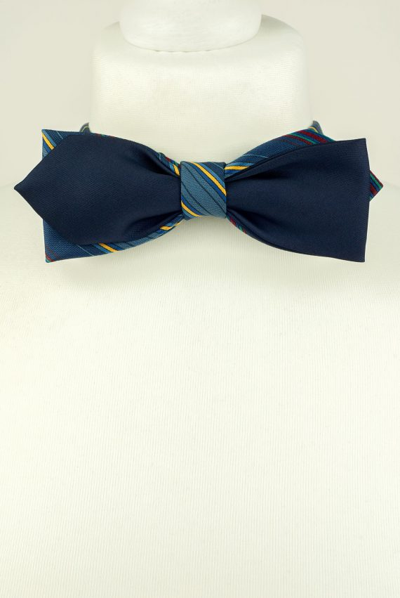 Blue Colour Diamond Point Bow Tie