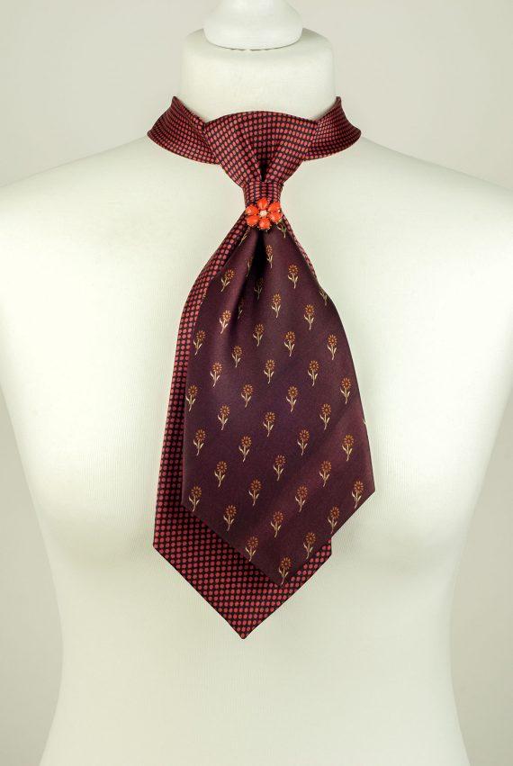 Burgundy Floral Necktie