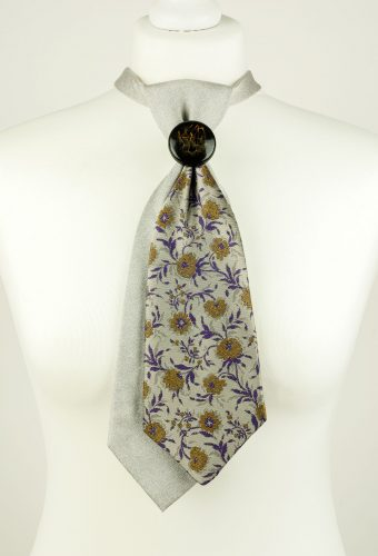 Grey Colour Floral Necktie