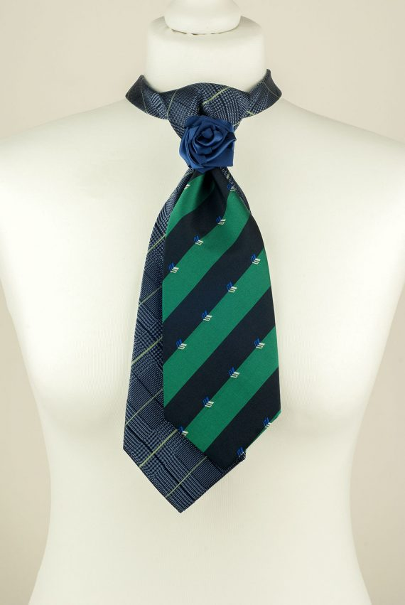 Green, Blue, Striped, Handmade Tie