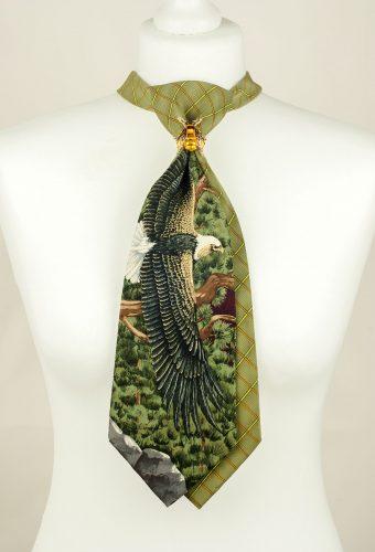 Eagle Tie, Green Tie, Handmade Tie