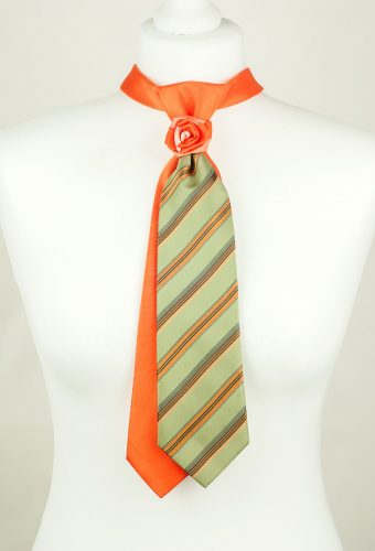 Orange, Green, Striped Handmade Tie