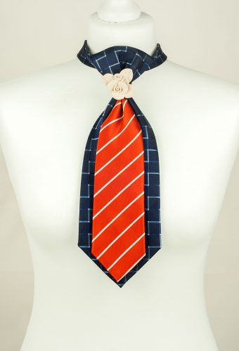 Blue, Orange, Handmade Tie