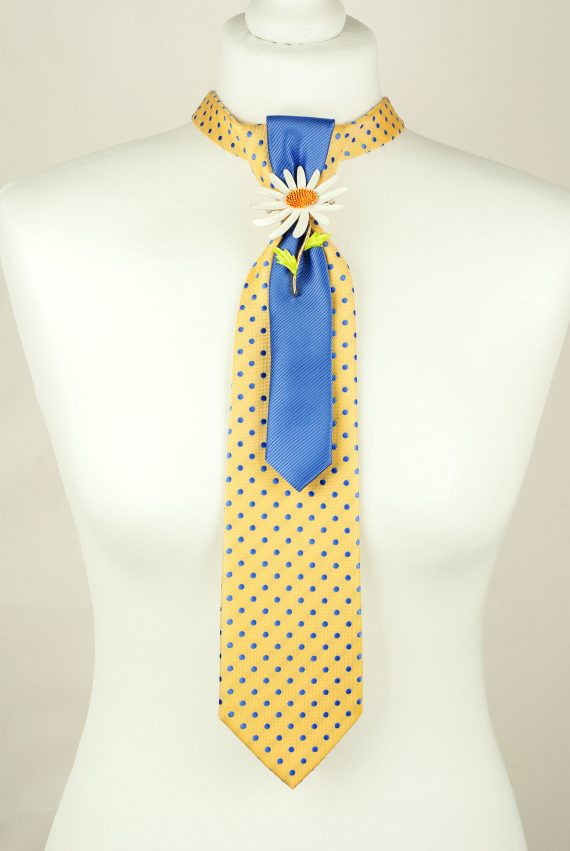 Yellow, Blue, Handcrafted Tie, Fashion Accessory