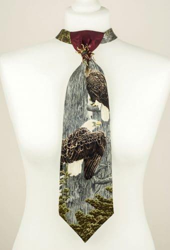 Bald Eagle Necktie, Grey Tie